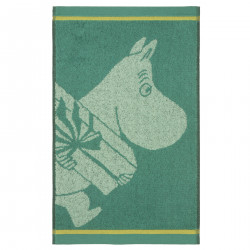 Moomin Hand Towel Moomintroll and the Present Mint Green 30 x 50 cm Finlayson