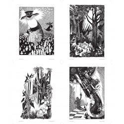 Moomin Set of 4 Posters Black and White 24 x 30 cm Putinki