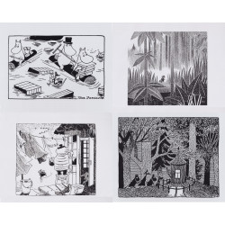 Moomin Set of 4 Posters Black and White Set 01 24 x 30 cm Putinki