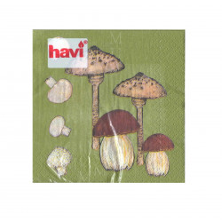 Havi Paper Napkin Mushrooms Green 24 cm