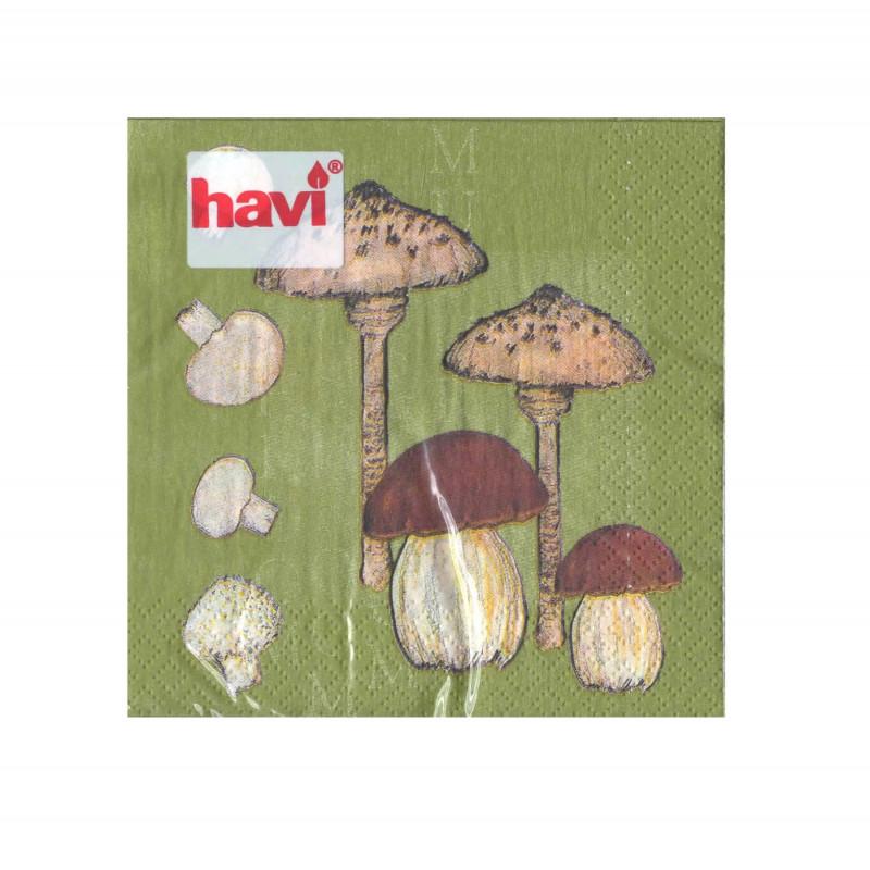 Havi Paper Napkin Mushrooms Green 24 cm