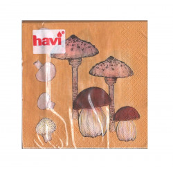 Havi Paper Napkin Mushrooms Brown 24 cm