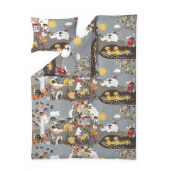 Moomin Duvet Cover Pillowcase Jungle Moomin Brown 150 x 210 50 x 60 cm