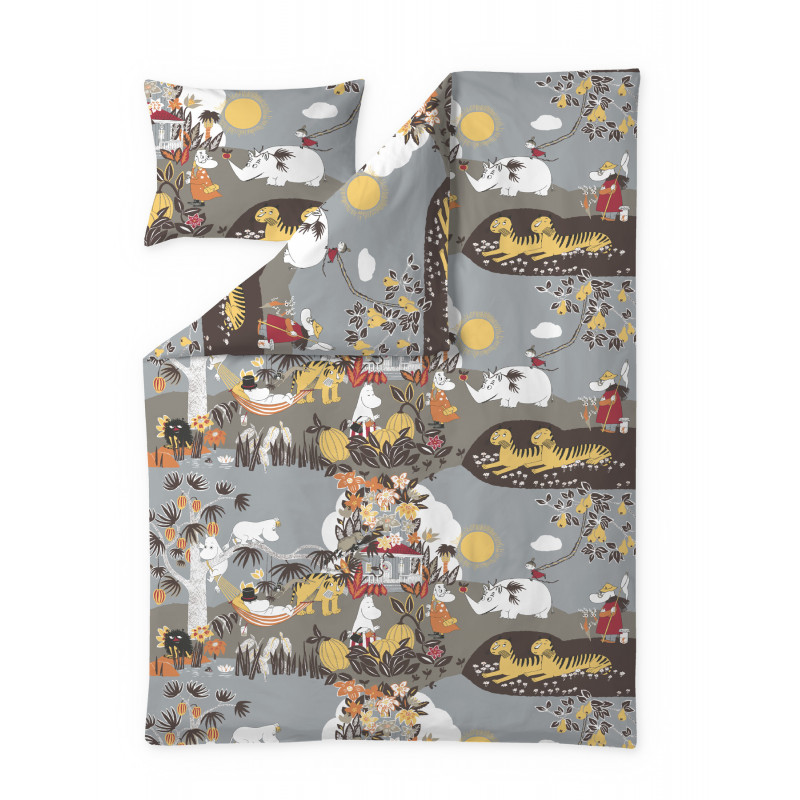 Moomin Duvet Cover Pillowcase Jungle Moomin Brown 150 x 210 50 x 60 cm