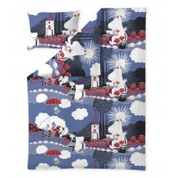 Moomin Duvet Cover Pillow Case 150 x 210 cm Roses Blue Organic Cotton
