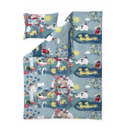 Moomin Eco Duvet Cover Pillow Case Jungle Moomin Coral Blue 150 x 210 cm and 55 x 60 cm