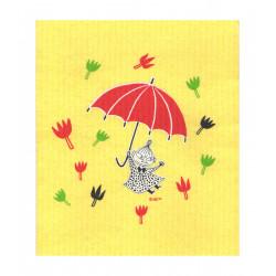 Moomin Dishcloth Little My Umbrella Yellow 17 x 20 cm