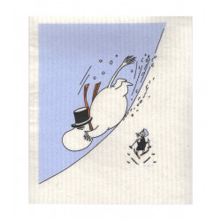 Moomin Dishcloth Moominpappa Snow Gliding 17 x 20 cm
