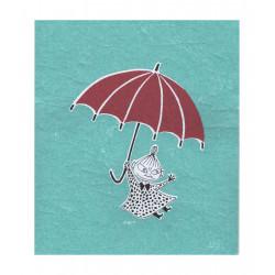 Moomin Dishcloth Little My Umbrella Turquoise 17 x 20 cm