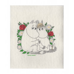 Moomin Dishcloth Snorkmaiden and Moomintroll Flower 17 x 20 cm