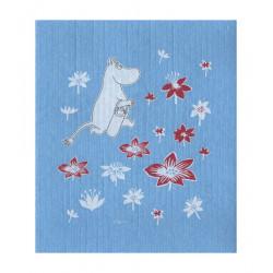 Moomin Dishcloth Moomintroll Flowers Blue 17 x 20 cm