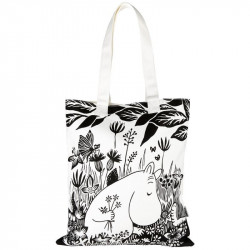 Moomin Eco Bag Flower Field Black and White
