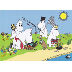 Moomin A4 Card Electrostatic Sticker Moomin Familly Fishing 21 x 30 cm
