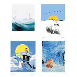 Moomin Set of 4 Posters 24 x 30 cm Blue Set 18
