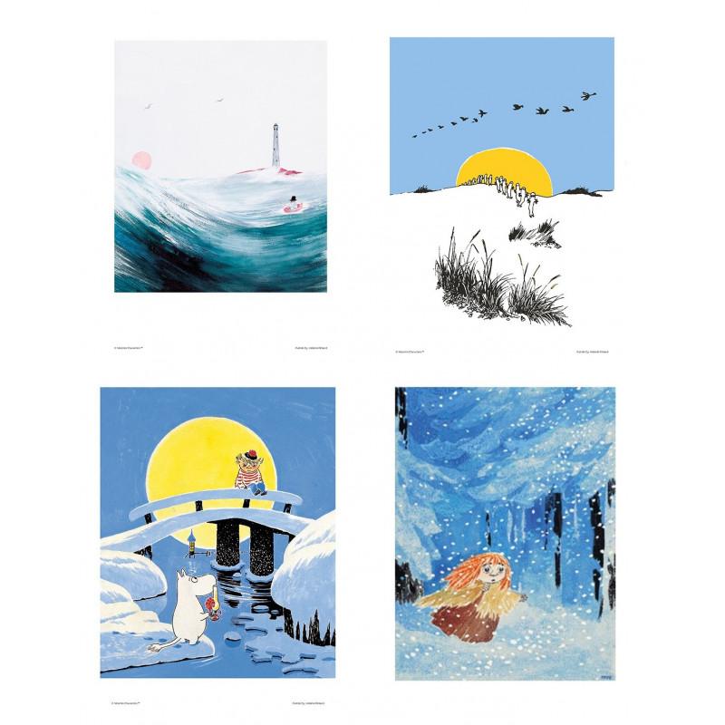 Moomin Set of 4 Posters 24 x 30 cm Blue Set 18