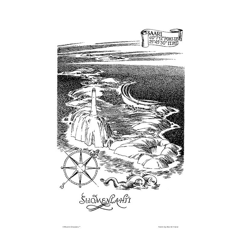 Moomin Poster The Gulf of Finland 24 x 30 cm Black and White