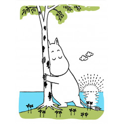 Moomin Letterpress Greeting Card Moomintroll Hugging the Birch Tree