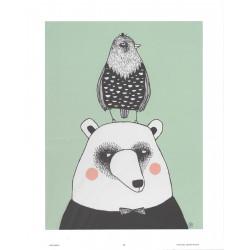 Mira Mallius Poster Bear and Bird Green 24 x 30 cm