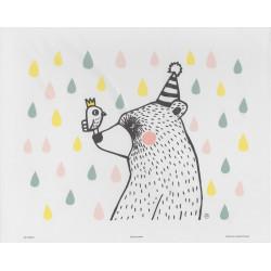 Mira Mallius Poster Bear and Bird Friends Rain Drops 24 x 30 cm