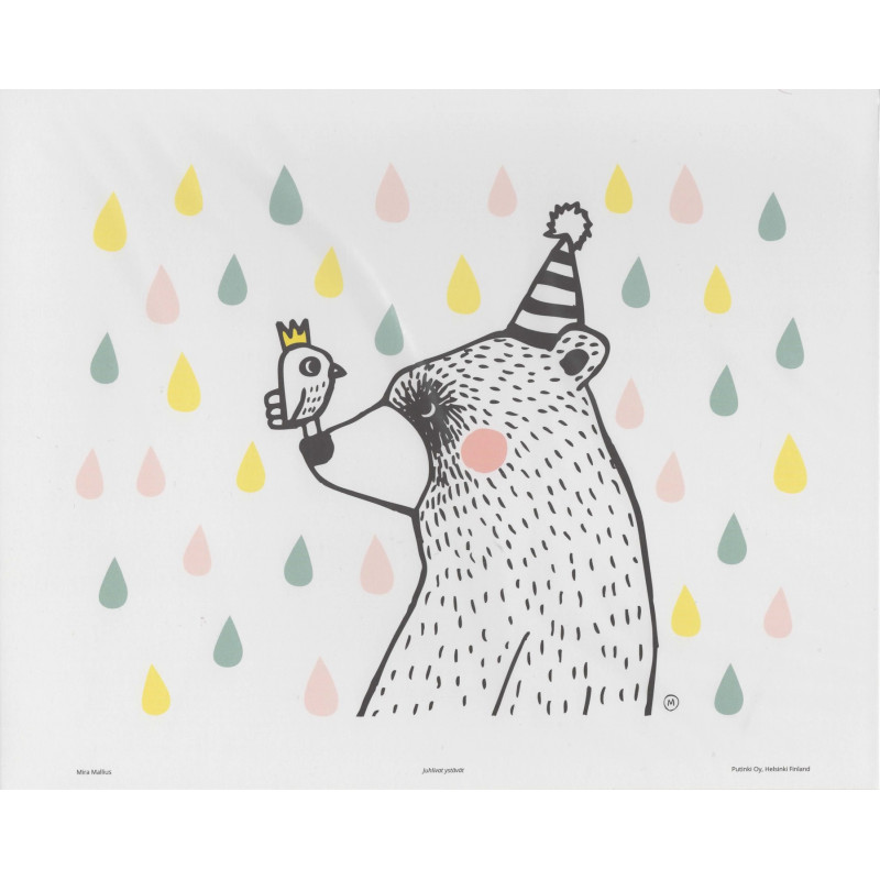 Mira Mallius Poster Bear and Bird Friends Rain Drops 24 x 30 cm