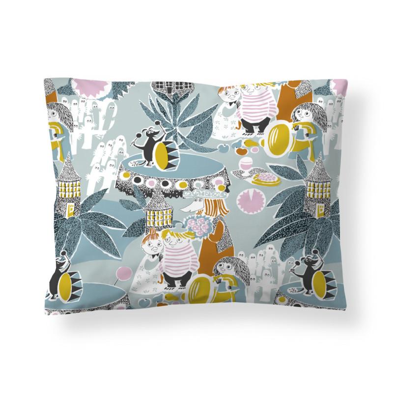 Moomin Pillowcase Fairytale Turquoise Orange 50 x 60 cm GOTS