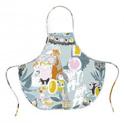 Moomin Oilcloth Children Apron Fairytale Turquoise Orange 57 x 50 cm