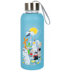 Moomin Summer Day Borosilicate Glass Bottle Silicone Cover