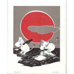 Moomin Retro Poster 24 x 30 cm Moomin Troll and Snorkmaiden Putinki
