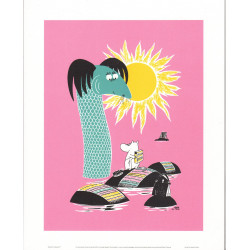 Moomin Retro Poster 24 x 30 cm Moominmamma Carpet Washing Putinki