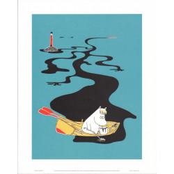 Moomin Retro Poster 24 x 30 cm Snorkmaiden in the Boat Putinki