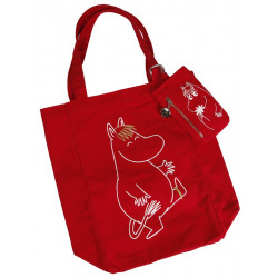 Moomin Canvas Shopping Bag with Wallet/Phone Sleeve Red Snorkmaiden