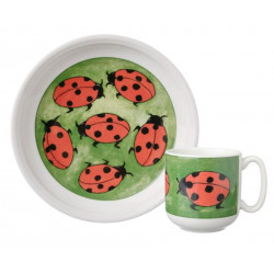 Arabia Children Set Plate and Mug Ladybirds