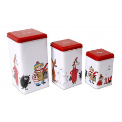 Moomin Characters Tin Can Red Lid 3 pcs Small Medium Large