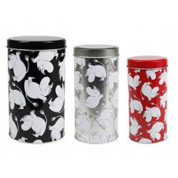 Moomin Tin Can Round Moomintroll Cartwheel Black Small Medium Large
